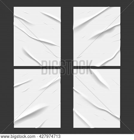 White Glued Wet Paper Posters With Wrinkled And Crumpled Texture Effect, Vector. Realistic Badly Wet