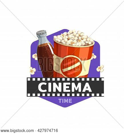 Cinema Food Icon With Movie Film, Popcorn And Drink, Vector. Cinema Theatre Or Movie Theater Fast Fo