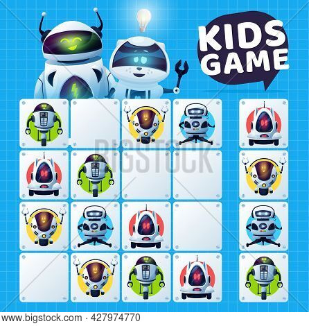 Kids Sudoku Game With Robots Maze, Vector Education Puzzle And Logic Riddle. Educational Block Game
