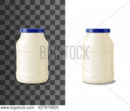 Glass Jar Of Mayonnaise, Realistic Packaging Of Food. Vector Pot Or Bottle Container Of Mayonnaise,