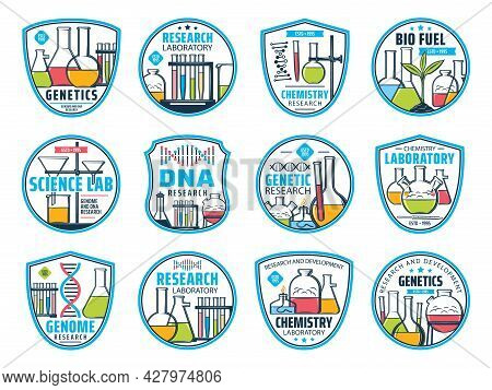 Science, Research And Chemistry Icons. Dna And Genetic Laboratory Vector Icons. Genome Research, Che
