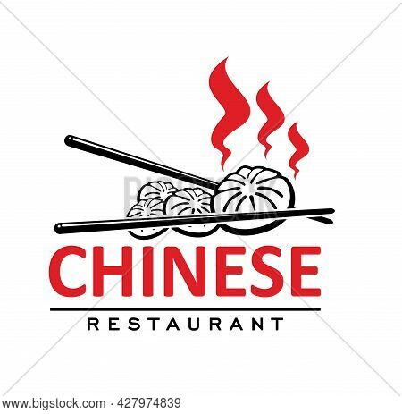Chinese Cuisine Restaurant Icon With Baozi And Sticks. Vector Emblem For Asian Cafe With Traditional