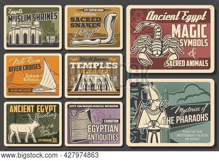 Egypt Landmarks, History Museum And Culture Symbols Vector Banners. Mosque, Abu Simbel Temple And Eg