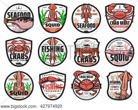 Sea Fishing Vector Icons For Seafood Restaurant, Fishing Club Catch Tournament And Fishery Store. Se