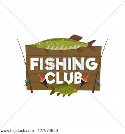 Fishing Club Wooden Sign With Perch And Pike. Vector Wood Board With Fish Trophy And Spinnings With