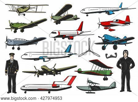 Modern And Vintage Aircraft Set. Civil And Military Aviation Pilot Character. Airline Passenger Airl