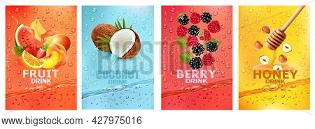 Set Of Labels With Fruit And Berry  Drink. Fresh Fruits Juice Splashing Together- Watermelon, Banana