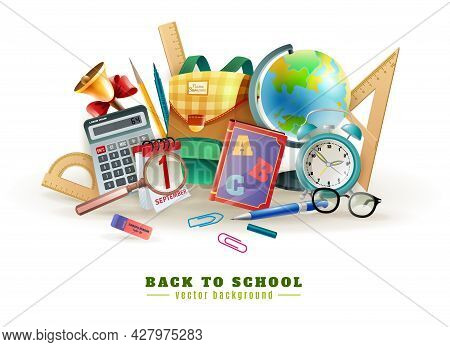 Back To School Background Poster For With Office Stationary Supply Items Alarm Clock And Classroom A