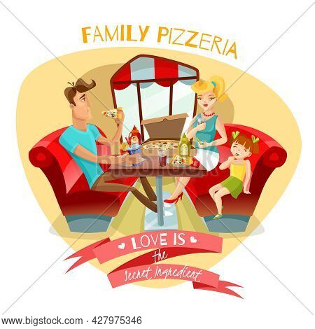 Family Pizzeria Design Concept With  Young Parents And Their Daughter At Dinner Table In Pizzeria In