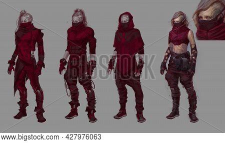 Concept Design Of Imaginative Futuristic Science Fiction Robotic Character Cyber Military Bio Assult