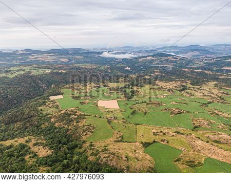 Aerial view on the countryside near Olloix, small french village , Puy-de-Dome, Auvergne-rhone-alpes