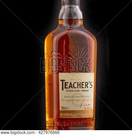Berlin - JAN 15, 2020: Teacher's Highland Cream Blended Scotch Whiskey on store shelf in Berlin It is a brand of blended Scotch whisky produced in Glasgow, Scotland.