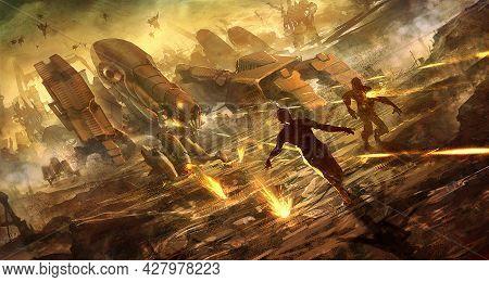 Digital Illustration Of Futuristic Science Fiction Robot Machine Army Killing Terminating The Escape