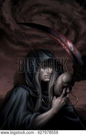 Digital Illustration Of A Handsome Cute Fantasy Character Grim Reaper Death Or Devil Holding A Mask
