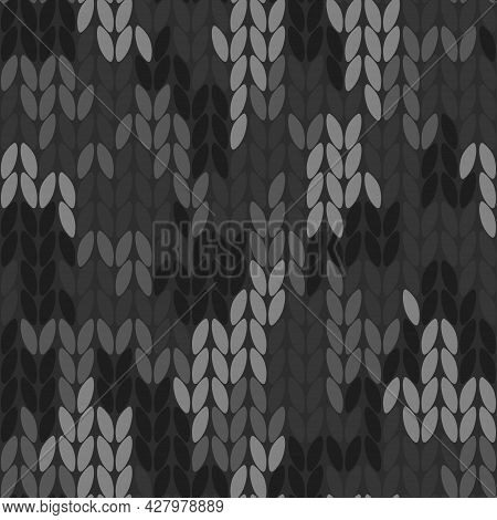 Knitted Camouflage Seamless Pattern. Woolen Black Camo, Knitted Texture. Vector Background