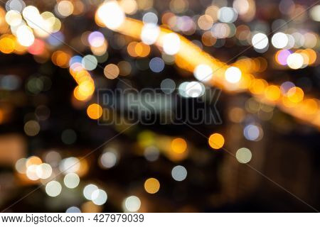 Blur Bokeh Background With Cityscape In Twilight, Blurred Focus In Evening With Downtown, Landscape,