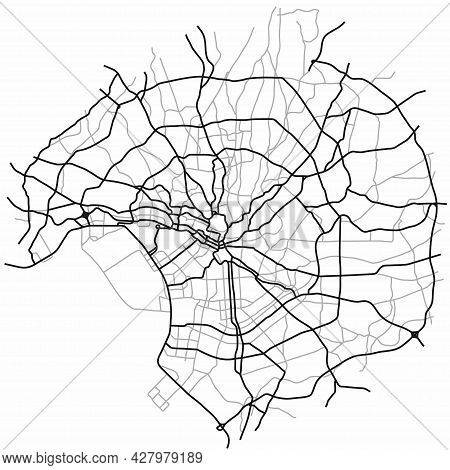 Tokyo City Map (japan) - Town Streets On The Plan. Monochrome Line Map Of The  Scheme Of Road. Urban