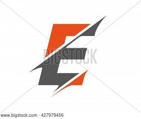 E Sliced Letter Logo. Modern E Letter Logo With Slash Concept. Initial Monogram Letter E Logo Design