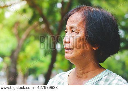 Asian Elderly Woman Standing In The Garden Feel Happy. Senior Health Care Concept Happy Retirement L