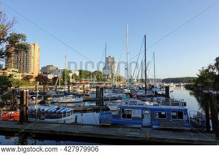 Nanaimo, British Columbia, Canada - July 11th, 2021: A Marina With Docks Full Of All Types Of Boats