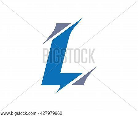 Monogram Letter L Logo Design Vector. L Sliced Letter Logo. Modern L Letter Logo With Slash Concept.