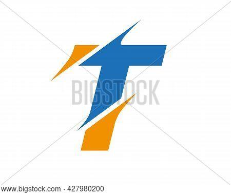 Initial Monogram Letter T Logo Design Vector. T Sliced Letter Logo. Modern T Letter Logo With Slash