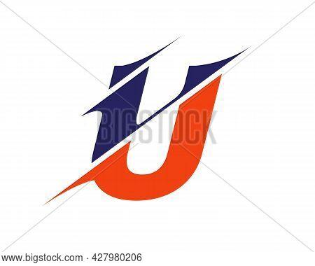 U Logo Design. U Sliced Letter Logo. Modern U Letter Logo With Slash Concept.