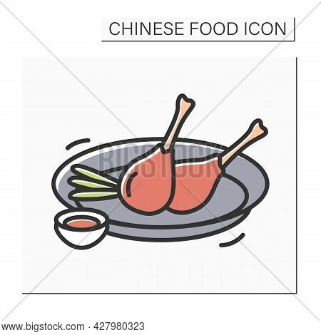 Peking Duck Color Icon. Chinese Cuisine Roasted Specialty Dish Serving With Traditional Sauce. Tasty