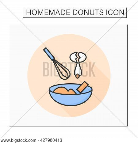 Dough Mix Color Icon. Whisking Egg And Butter With Donuts Dry Ingredient. Concept Of Home Pastry Or