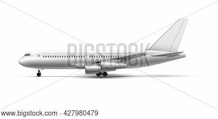 Realistic Standing Airplane, Jet Aircraft Or Airliner Side View. Detailed Passenger Air Plane.