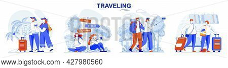 Travelling Concept Set. Travelers Fly On Vacation, Tourists Take Trip, Journey. People Isolated Scen