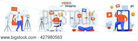 Video Blogging Concept Set. Bloggers Recording Videos, Create Digital Content. People Isolated Scene