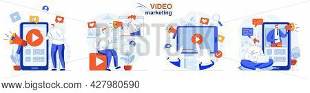 Video Marketing Concept Set. Advertising Content Creation, Video Blog Promotion. People Isolated Sce