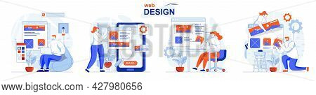 Web Design Concept Set. Designers Create Site Layouts, Drawing And Places Elements. People Isolated