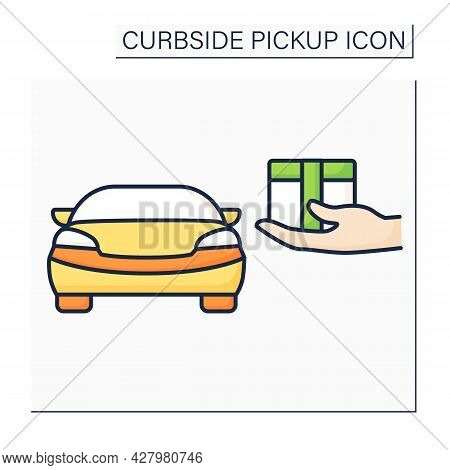 Curbside Pickup Color Icon.store Associate Brings Pickup Order Out To Consumer Vehicle. Contact-free