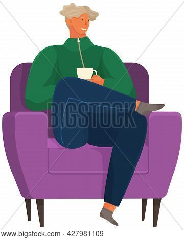 Coffee Break Vector Illustration. Relaxed Man Sitting In Comfortable Armchair With Cup Of Hot Drink.