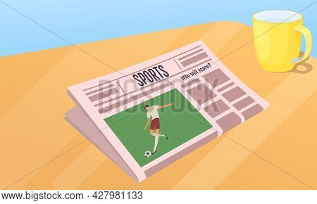 Paper Publication With Fresh News. Newspaper About Sports, Football, Games, Soccer Against Backgroun