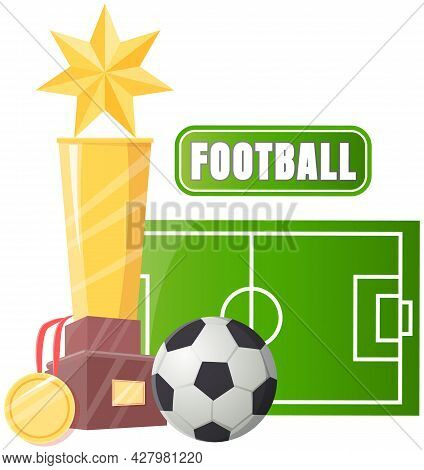 Gold Cup Near Football Playground, Ball On Field Sport Game Competition, Championship Cup Banner. Fo