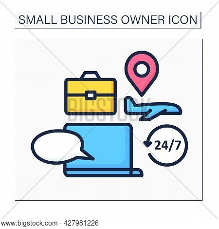 Laptop Color Icon. Travel Consultation. Day-and-night Client Support. Advice About Business Trip, Ti