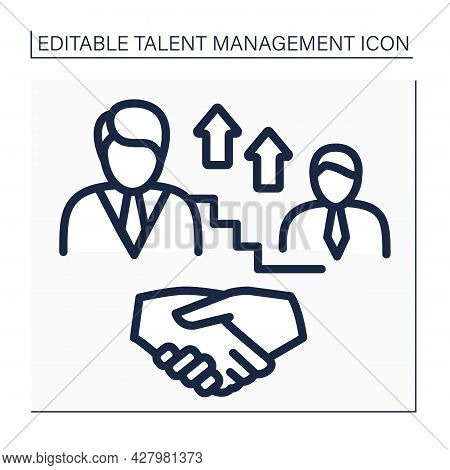 Succession Planning Line Icon. Replacement Planning. Strategy For Passing On Leadership Roles. Talen
