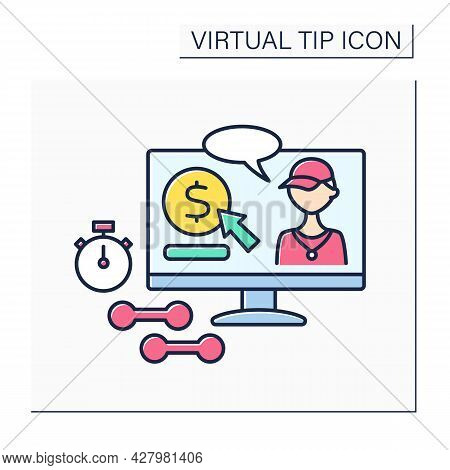 Donations Color Icon. Online Contributions For Sportsmen. Digital Tips For Developing And Supporting