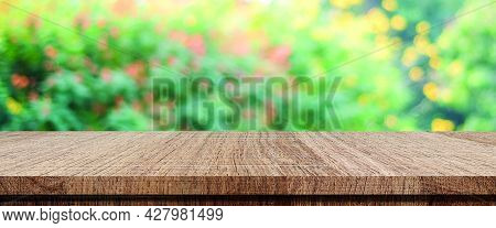 Wood Table, Counter Background, Wooden Shelf And Blur Green Tree Nature For Food Picnic, Kitchen Pro