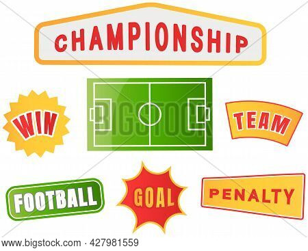 Football Championship Logo Set, Soccer Team, Penalty Goal Win Vector Pattern On White Background. Sp