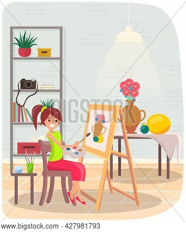 Girl Drawing Still Life Picture Of Vase And Fruits. Female Artist With Brushes Holding Palette In Ha