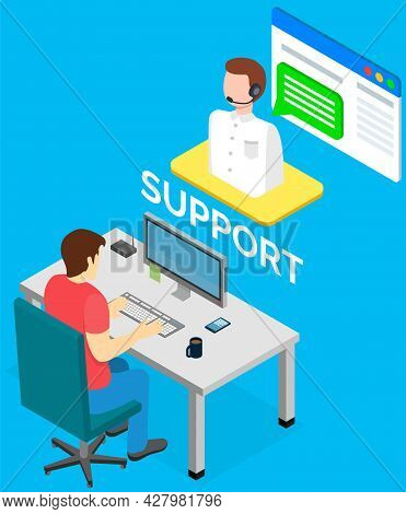 Male Helpline Operator With Headset Consulting Client. Online Global Tech Support Via Internet. Oper