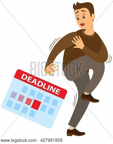 Deadline Concept Scared Man Hiding From Work And Problems At Workplace. Businessman Fear. Workload D