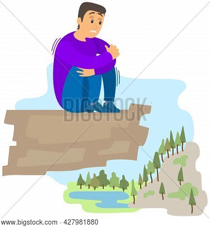 Man Suffering From Fear Of Of Heights. Person Is Scared Of Being On High Rock. Male Character Shakin
