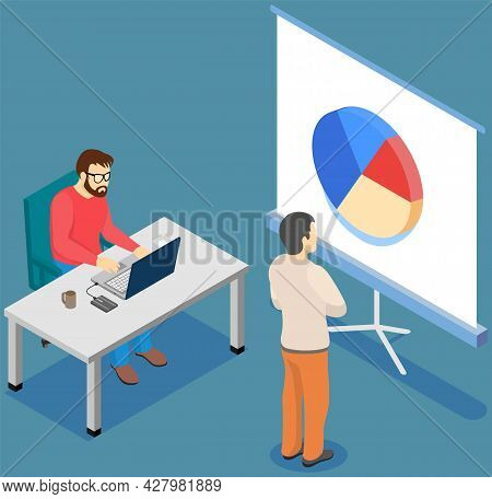 Visualize With Business Analytics. People Work With Statistical Data Analysis, Changing Indicators.