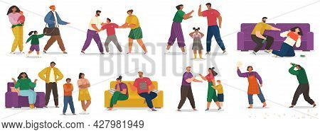 Problems And Conflict In Family, Fight And Arguing, Quarreling Over Child In Family Scenes Set. Angr
