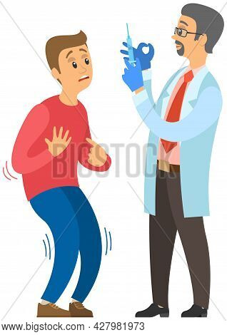 Doctor Making Treatment With Vaccine To Produce Immunity Against Disease. Man Is Afraid Of Inoculati
